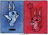 anioł i diabeł. niebieski i czerwony